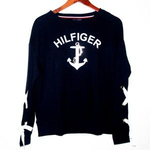 NWT Tommy Hilfiger Oversized  Lace Up Sleeve Top